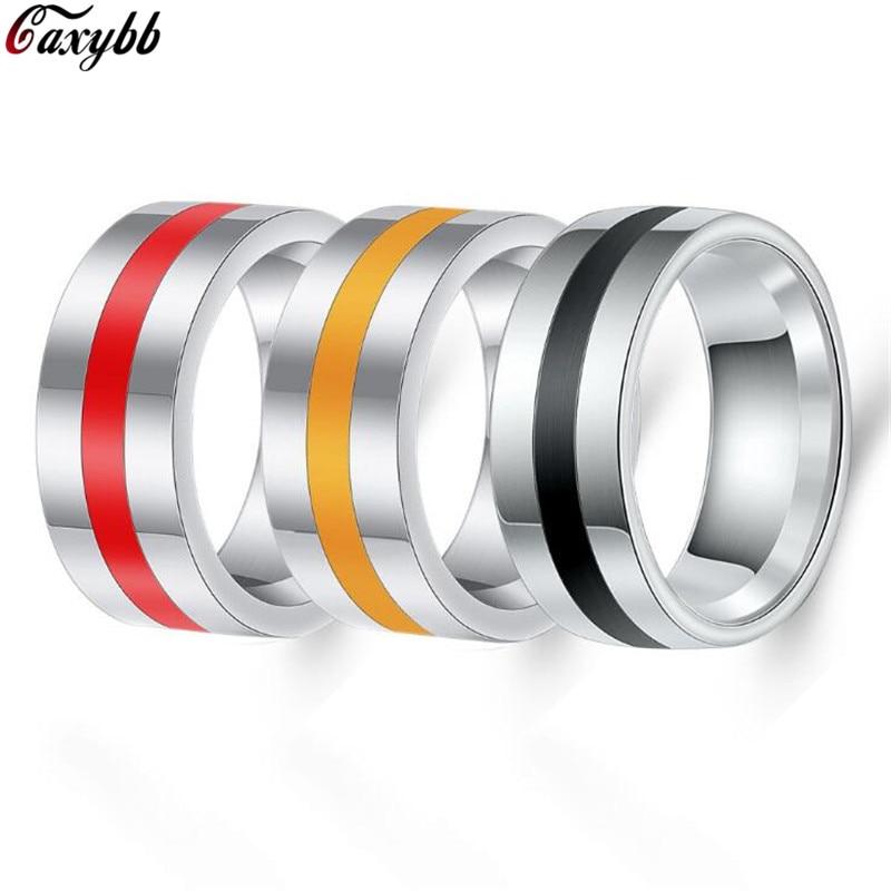 Couleur argent acier inoxydable anneaux pour hommes mince rouge/noir/jaune ligne anneaux de mariage bande mâle Alliance bijoux 8mm