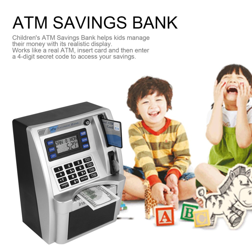 ATM Savings Box Piggy Bank Insert Bills Perfect for Kids Gift Own Personal Cash Point Money Saving Box D1