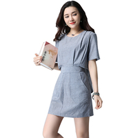 2017 New Summer Casual Fashion Women Dress Striped Imitation Cotton And Linen Dresses Cowboy Blue 8831