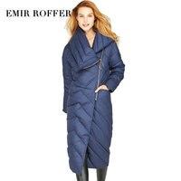 EMIR ROFFER, зима 2018, женский длинный пуховик, пальто для женщин, европейская мода, не симметричная молния, одежда для девушек, плюс размер