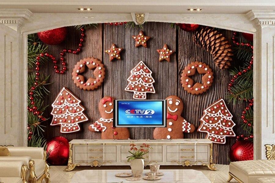 Personalizzato murales 3d biscotti di natale sfondi papel for Sfondi natale 3d