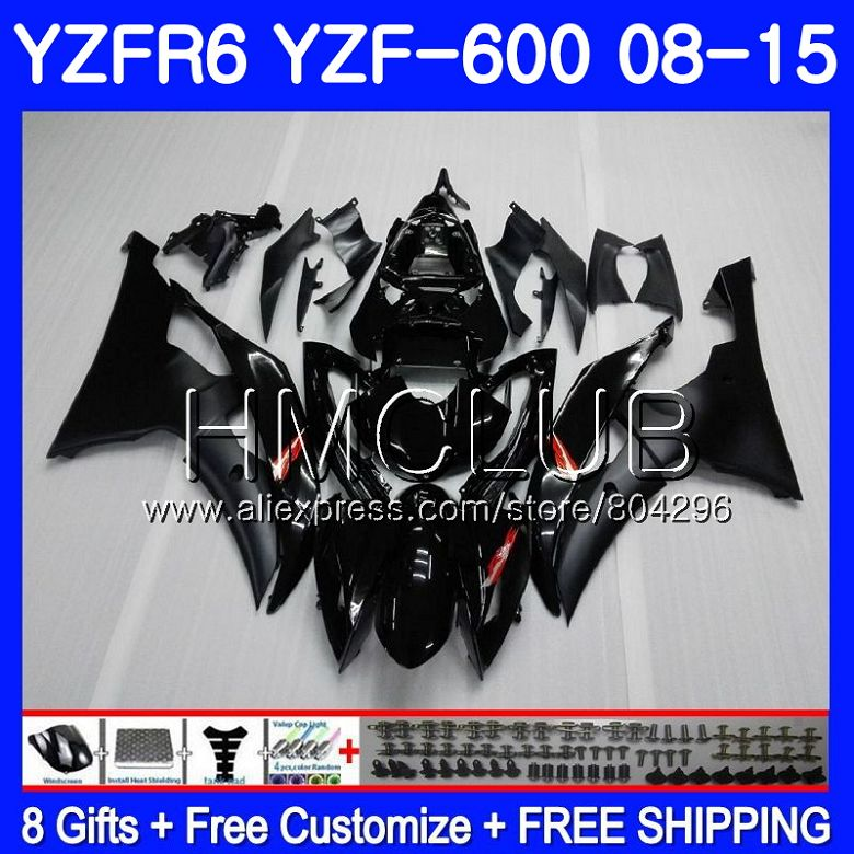 Corps Pour YAMAHA YZF-600 YZFR6 08 09 10 11 YZF600 103HM10 YZF 600 R 6 YZF R6 YZF-R6 Usine noir 2008 2009 2010 2011 Carénage Kit