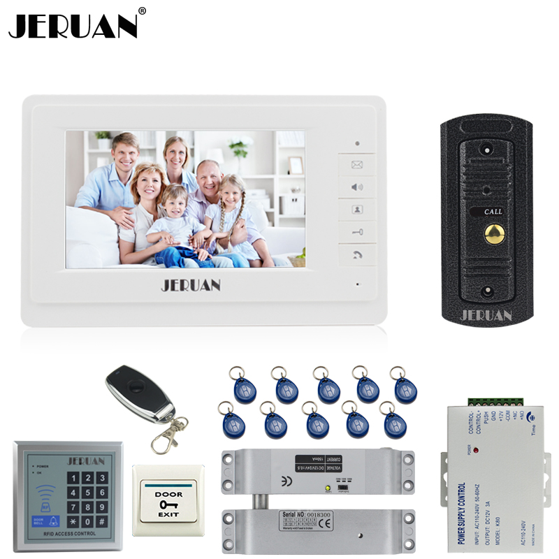 JERUAN Wired 1V1 Doorbell 7`` Video Door phone Intercom System kit 1 Monitor Full Metal IR Pinhole Camera RFID Access Control jeruan home 7 video door phone intercom system kit 1 white monitor metal 700tvl ir pinhole camera rfid access control in stock