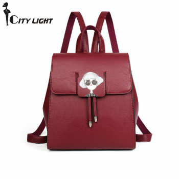 Women Cute Backpacks High Quality Soft PU Leather Teenage Backpacks For Girls School Back Pack Bag For Travel Bags Mochila