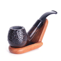 Engrave Ebony Sandalwood Pipes Chimney Activated Carbon Filter Smoking Pipe Herb Tobacco Pipe Cigar Weed Grinder