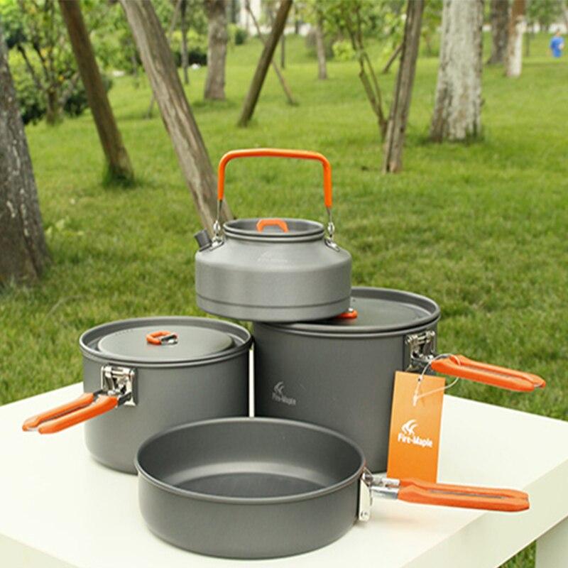 Offre spéciale 4-5 personnes batterie de cuisine 2 casseroles et théière et poêle Camping en plein air randonnée pique-nique marmite set feu érable fête 4