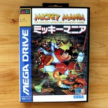 Mickey Mania 16 Bit MD Game Card with Retail Box for Sega MegaDrive & Genesis Video Game console system