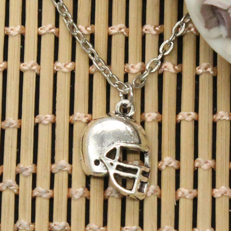 new fashion soccor football helmet Pendants round cross chain short long Mens Womens DIY silver necklace Jewelry Gift