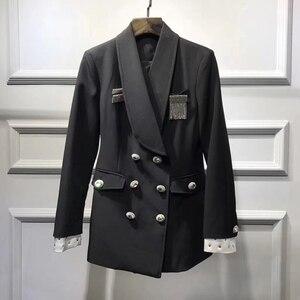 Image 3 - High street mais novo 2020 elegante designer blazer feminino xale colarinho strass botões duplo breasted longo blazer jaqueta