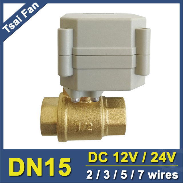 TF Brand Motorized Ball Valve TF15-B2-A, 2 Way BSP/NPT 1/2'' (DN15) Brass Valve DC12V or DC24V Control  With Signal Feedback