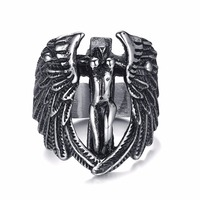Fashion Jesus Cross Ring Carved For Men Anillos 316L Stainless Steel Cool Wings Rings Free Angel
