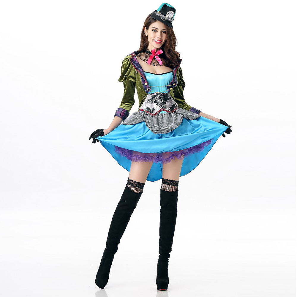 VASHEJIANG New Alice In Wonderland Mad Hatter Role Play Costume Adult Women Sexy Party Dress Renaissance Princess Medieval Dress