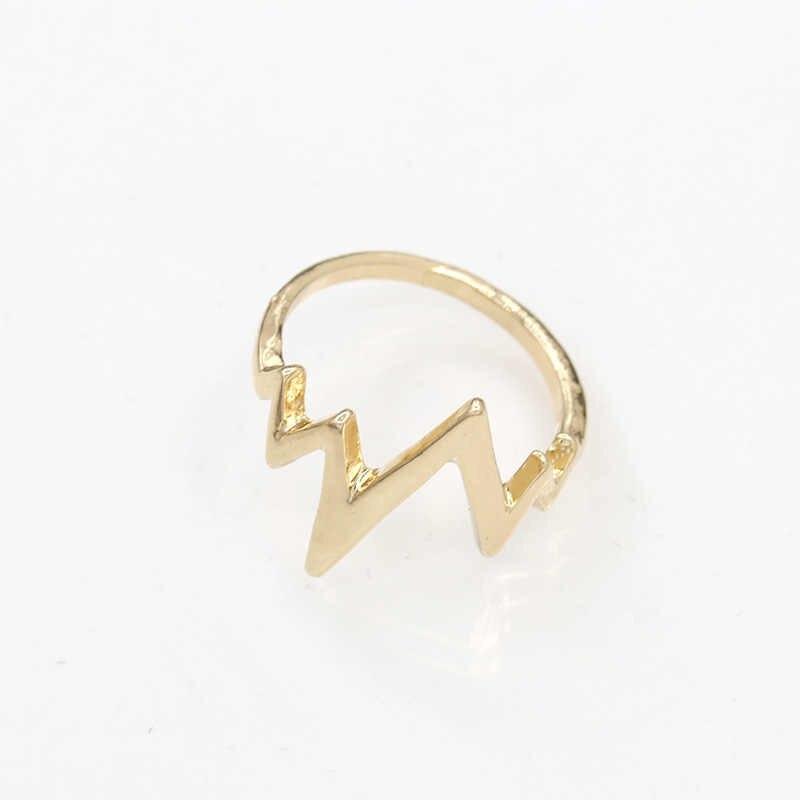البرق الدائري ecg نبضات خواتم الذهب والفضة الأسود سحر النساء الرجال الأزياء والمجوهرات الاصبع الملحقات