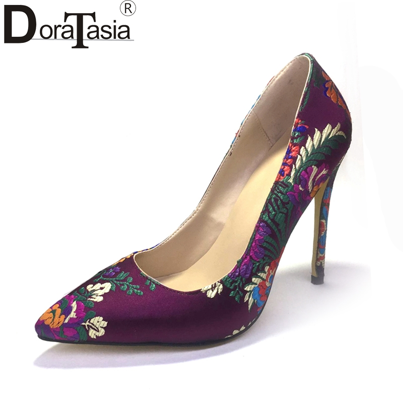 DoraTasia 2018 silk upper embroider large size 34-47 pointed toe spring pumps women shoes thin high heels wedding shoes woman
