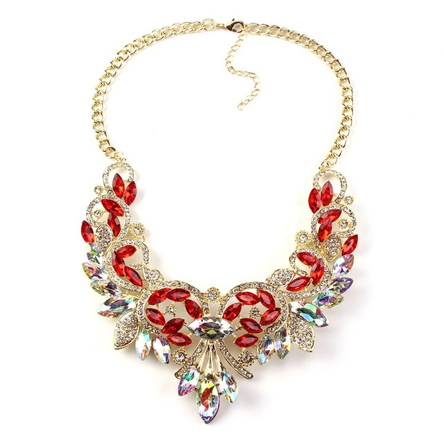 Colourful Crystal Maxi Statement Necklace & Pendant