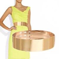 Fashion Women 7cm Wide Gold Full Metal Plate Metallic Mirror Belt Corset