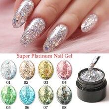 Modelones Glitter UV Gel Nail Polish Super Shining Platinum Varnish Semi Permanent Hybrid Enamel Led