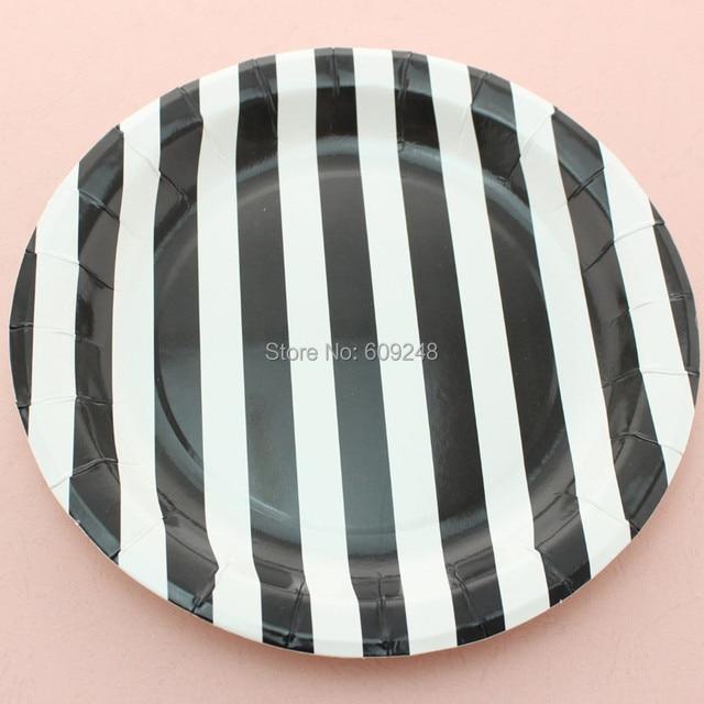 24pcs 9  Personalized Birthday Halloween Holiday Black Striped Paper Plates Bulk Round Party Dessert Paper & 24pcs 9