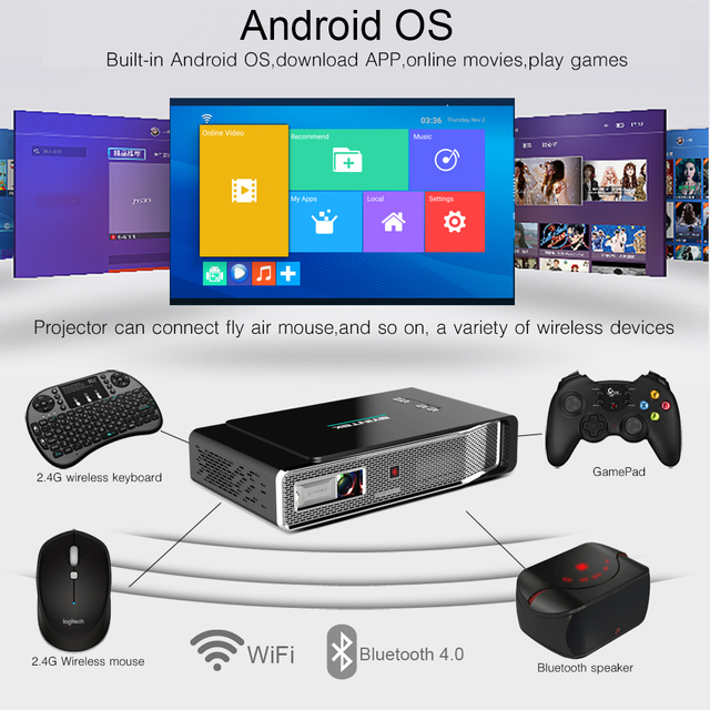 BYINTEK UFO R15 Smart Android WIFI Video Home Theater LED Portable USB Mini HD DLP 3D