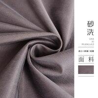 De micro profiel van zand wassen katoen elastische satijn stof mode gevoel crème windjack pak broek doek 2017 6.20