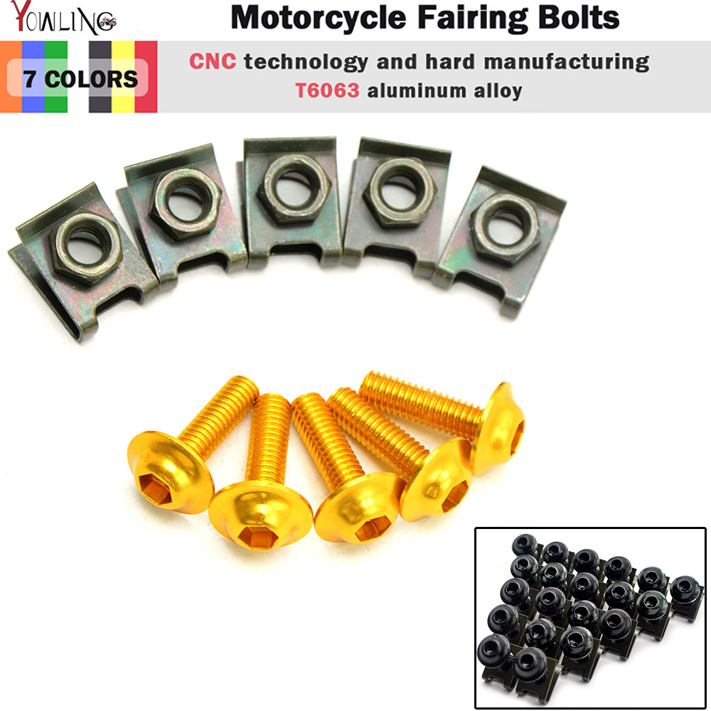 5pcs 6mm CNC Motorcycle Fairing body work Bolts Screws For honda cbr 600 f4i cb400 s2000 yamaha mt-07 mt-09 mt07 mt09 mt 07 09