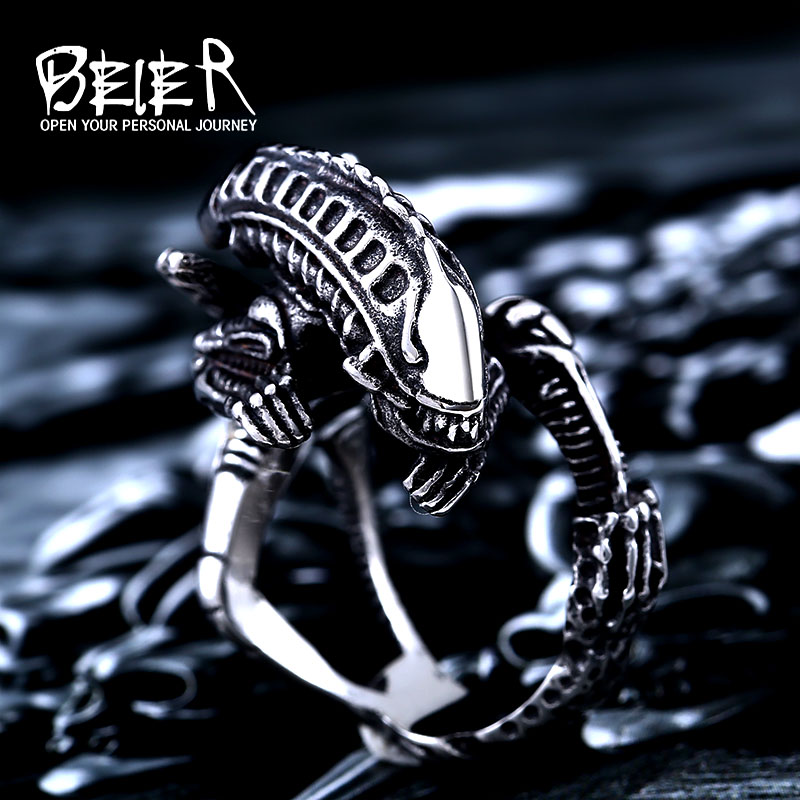 Beier 316L Stainless Steel  Alien Predator Finger Rings For Men alien Predator high quality jewelry LLBR8-358R