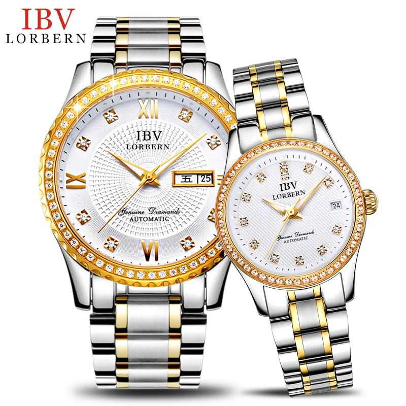 где купить Genuine IBV couple watches on automatic mechanical watches are luminous diamond lovers watches 2017 NEW по лучшей цене