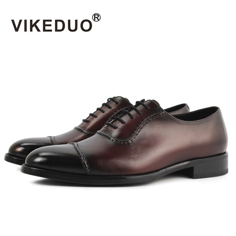 VIKEDUO Luxury Brand Newest Fashion Vintage Mens Oxford Shoes Handmade Royal Party Wedding Shoe Genuine Leather Male Footwear