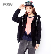PASS 2017 Winter New Arrival Woman Jacket Long Sleeve hoody Causal Letter Loose Clothing Fashion Pockets