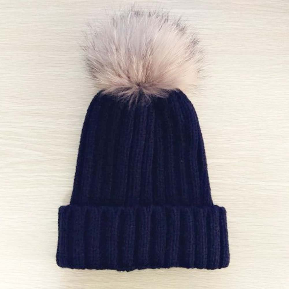 1 Pcs Baby Knitted Wool Hat Caps for Girls Toddler Crochet Beanies Fur Ball Cute Baby Boys Hats Family Cap