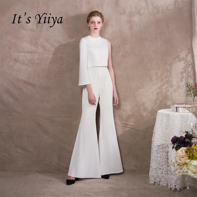 It s Yiiya One Shoulder Two Pieces Zipper Empire Dinner Party Dress Elegant  Jumpsuit Formal Pant Suit Evening Dress Pants NX004 ace643fbe625