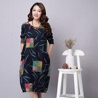 Autumn Dress Plus Size Women Clothing Loose Waist Vintage Dress Long Sleeve Patchwork Casual Cotton Linen