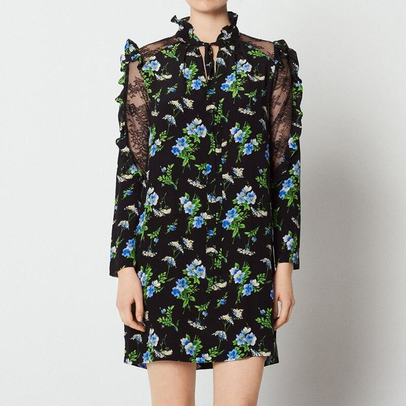 Bureau femmes robe en soie Designer de haute qualité robes imprimées 2018