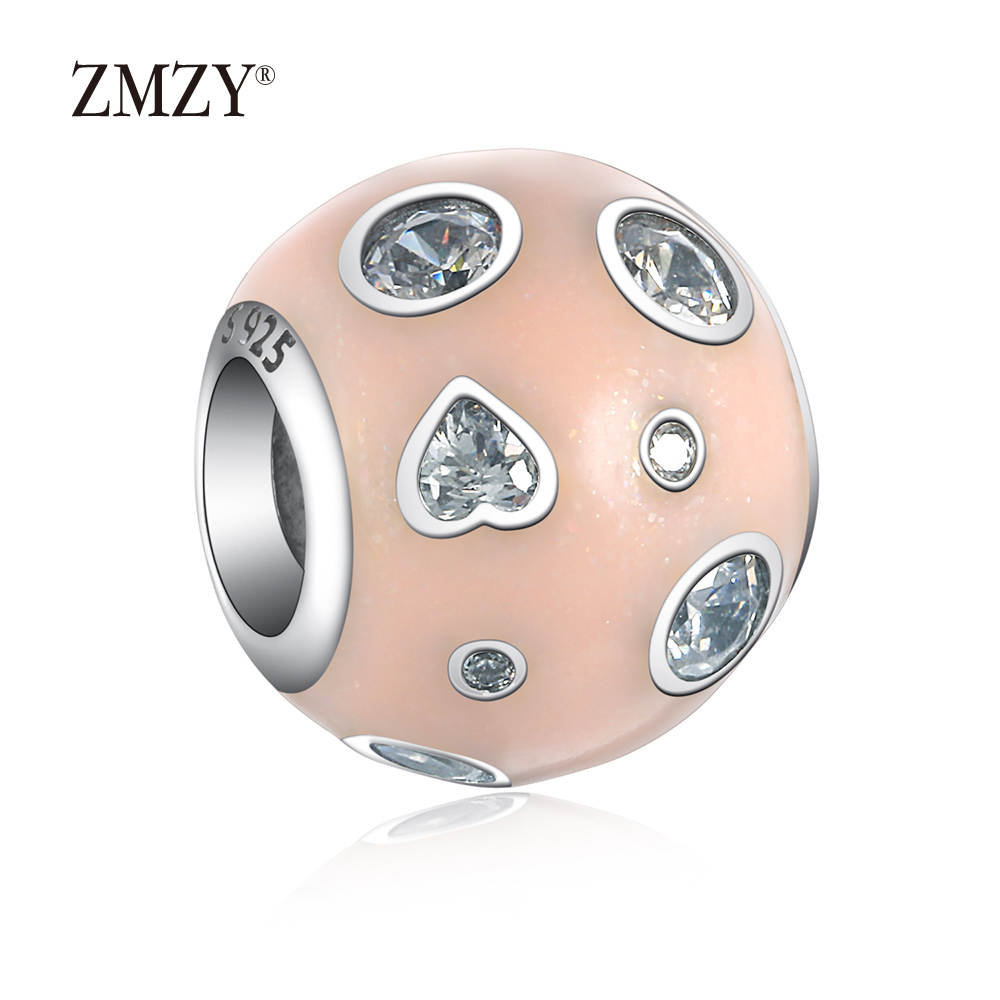 ZMZY Authentic 925 Sterling Silver Charms Big Hole Pink Enamel Crystal Beads Fits Pandora Charm Bracelet Making
