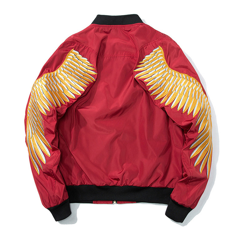 Hyweacvar Men's Spring Autumn Golden Color Angel Wings Embroidery Bomber Jacket Flight Jacket EU Plus Size