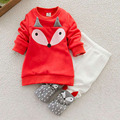 New 2pcs/set Comfortable Lovely Child Boys Girls Thick Little Foxes Clothes Cartoon Cotton Long Sleeve Shirt + Long Pants
