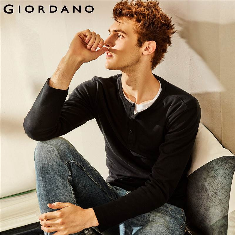 Giordano Men   T     Shirt   Men Henley Neck Long Sleeve Tee Men Slim Fit Quality Cotton Ribbed Henley Collar Simple New Style Autumn