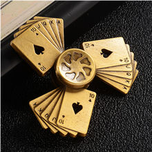 Newest Fidget Spinner Colorful Poker Triangle Hand Spinner High SpeedAnxiety Stress Finger Toys Adults Kid Fidget Spiner metal(China)