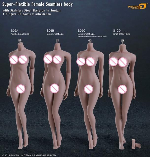 "1/6 Scale Super Flexible female body for 12 ""action figure doll female seamless body in suntan skin figure doll Accessories"