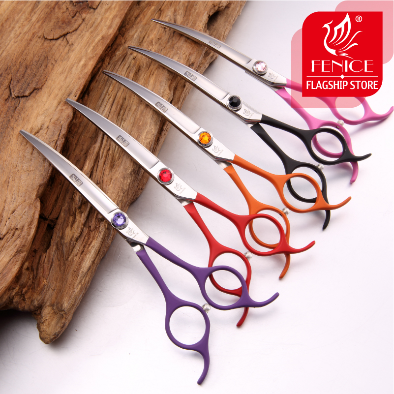 Professional colorful 6.5 inch pet dog small animal grooming hair cut curved scissors  tesoura de tosa fenice