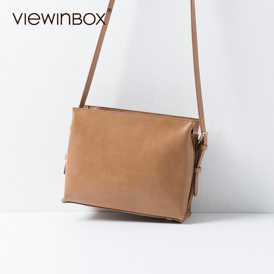 308c9c33410 US $104.88 |Viewinbox Flat Messenger Bag Leather Crossbody Shoulder Bag  Fashion Leather Messenger Bag Casual Zipper Ladies Shoulder Bag -in  Crossbody ...