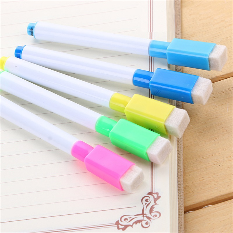 5PCS/Set Brand New Whiteboard Pen Erasable Dry White Board Markers Built In Eraser Office School Supplies 24pcs blue magnetic whiteboard dry eraser chalkboard cleansers wiper for classroom office school supplies office accessories