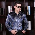 2016 Novos Homens Casuais Camisa Outono Moda Floral Impressão Vestido Vestido de Veludo De Manga Longa Dos Homens Camisa