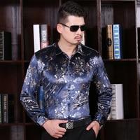 2016 New Casual Men Shirt Autumn Fashion Floral Printing Dress Mens Long Sleeve Velvet Dress Shirt