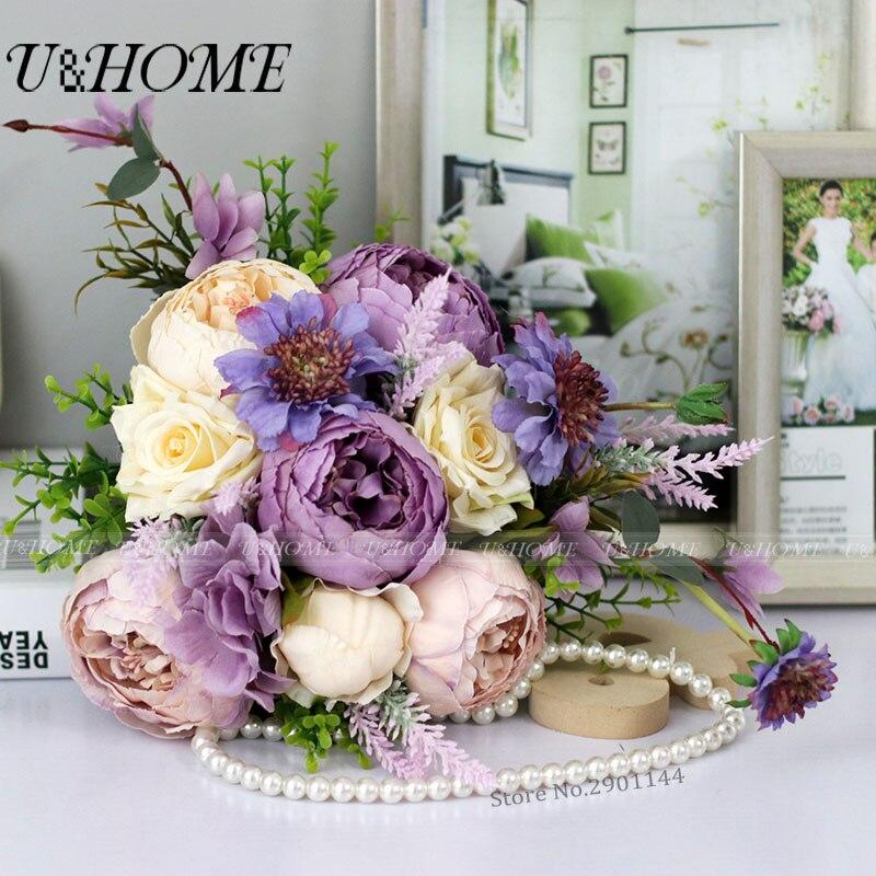 Artificial bride DIY <font><b>flowers</b></font> bouquet silk peony plastic eucalyptus plants purple rose high quality home wedding decoration bulk
