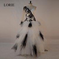 Fantastyczna Biały I Czarny Suknie Balowe Suknie Ślubne 2016 Vestido De Noiva Sexy Tulle Suknie Bride Lace Appliqued Custom Made