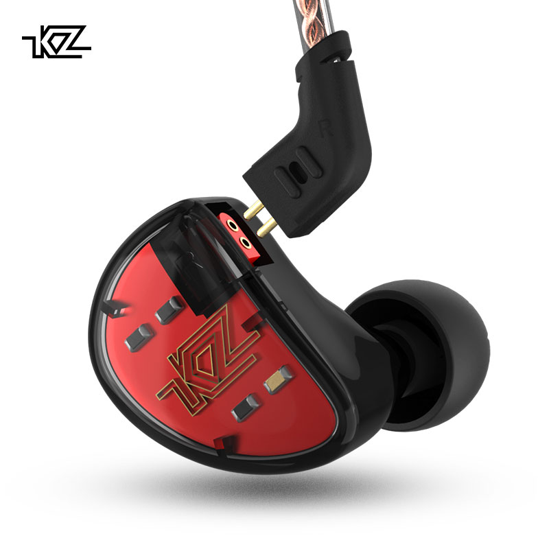 KZ AS10 5BA Unità di Azionamento In Trasduttore Auricolare Dell'orecchio 5 Balanced Armature DJ HIFI Monitor Auricolare Staccabile Staccare 2Pin Cavo KZ ZS10 KZ BA10