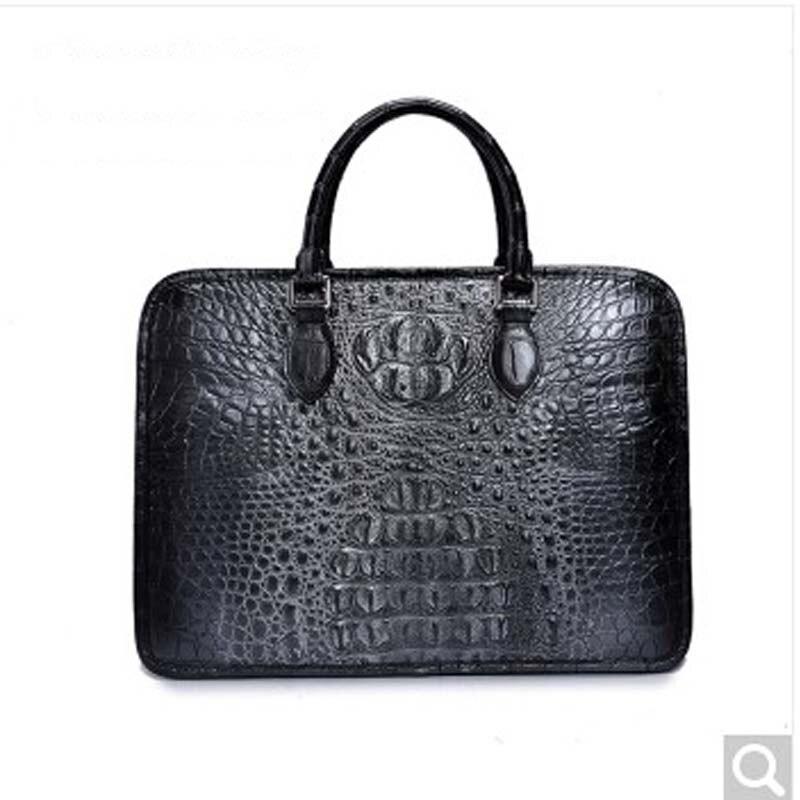 2018 weitasi Crocodile Leather man handbag new local black silver hand bag leisure business men tote Bag local focal hand embroidered blue handbag