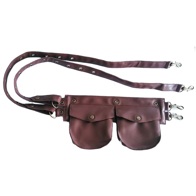 Brown Leather Mini Bag Waist Pouch Pocket Belt Sexy   Corsets   And   Bustiers   Vintage   Corset   Gothic Clothing Steampunk Accessories