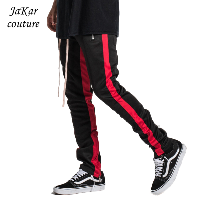 JaKar Men Skinny Sweatpants Slim Fit Jogger Pants Zipper 2018 Side Stripe Fashion Sweatsuit Streetwear Elastic Casual Mens Pants
